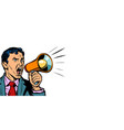 businessman with megaphone horizontal copy space vector image vector image