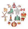 canada travel icons set cartoon style vector image