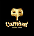 carnival golden mask logo with lettering 3d vector image