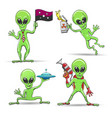 cartoon aliens set vector image