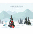 christmas tree snowman on mountain vector image
