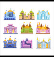 colorful castles and mansions set collection of vector image vector image