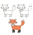 Connect the dots to draw a cute fox and color it vector image vector image