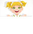 Cute little girl holding a big blank banner vector image vector image