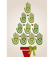 Diversity green hands in Christmas Tree vector image