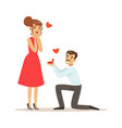 elegant man proposing marriage to beautiful woman vector image
