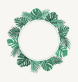 exotic tropical leaves wreath border frame green vector image vector image