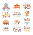 fall nature season vintage hand drawn lettering vector image