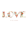 floral card with love word vector image