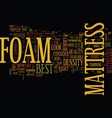 foam mattress text background word cloud concept vector image vector image