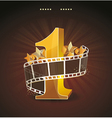 Gold number 1 with twisted filmstrip and glass vector image vector image