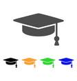 graduation cap flat icon vector image vector image