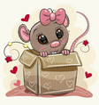 greeting card with cartoon rat girl and a box vector image vector image