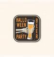 halloween beer party patch halloween retro badge vector image vector image