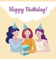 happy birthday banner design template women vector image vector image