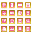 house appliance icons set pink square vector image vector image