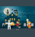 kids in halloween cartoon vector image vector image