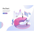 landing page template pie chart isometric vector image