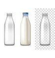 milk glass bottles realistic set vector image vector image