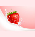 milk splash and strawberry vector image vector image
