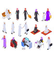 muslim isometric arab 3d people saudi business vector image vector image