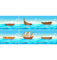 Ocean scenes with boats on water vector image vector image