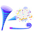 Party horn and pop up cone vector image vector image