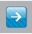 Right arrow icon Glossy blue button vector image