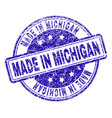 scratched textured made in michigan stamp seal vector image vector image