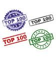 scratched textured top 100 stamp seals vector image