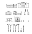 set of urban elements vector image vector image