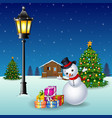 snowman with christmas trees and gift boxes at nig vector image