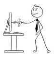 stick man cartoon of shaking his hand with vector image