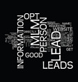the benefits of an opt in mlm lead text vector image vector image