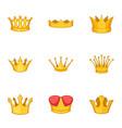 tiara icons set cartoon style vector image vector image