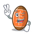two finger rugby ball character cartoon vector image