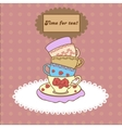 Vintage tea mugs on the tablecloth for your design vector image vector image