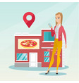woman looking for a restaurant in her smartphone vector image vector image