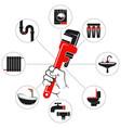 wrench in hand plumbing symbol vector image vector image