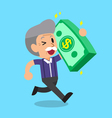 Cartoon senior man carrying big money stack vector image