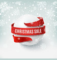 christmas sale snow ball with red bow and ribbon vector image