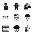 early childhood icons set simple style vector image