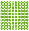 100 baseball icons hexagon green vector image vector image