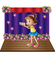 A stage with a young girl holding a camera vector image