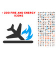 airplane landing crash icon with bonus flame vector image vector image