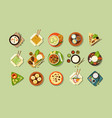 asian traditional cuisine and fast food set vector image vector image