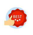 best choice icon with thumb up and emblem isolated vector image vector image