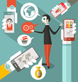 Business Man - Cell Phones - Social Media Symbols vector image vector image