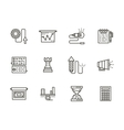 Business tactic black line icons collection vector image