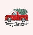 car with a christmas tree spruce in luggage vector image vector image